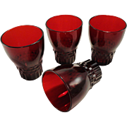Anchor Hocking Royal Ruby Glass Tumblers, Windsor Pattern
