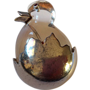 Lucite silver chick in the egg oin brooch RARE!