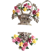 DERosa rhinestones ceramic basket pin and clip