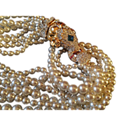 KENNETH LANE 1968 Ram head faux pearl necklace