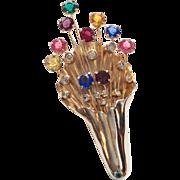 Eisenberg original HUGE colored spray pin brooch fur clip
