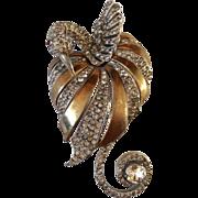 Reja unsigned huge amazing bird of paradise pin brooch