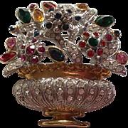 Adorable real looking flower basket pin brooch