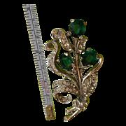 TRIFARI Green Rhinestones 40s Pin Brooch
