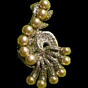 EISENBERG Original Sterling 40s HuGe Pearl Pin Brooch