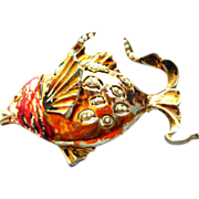 REJA REG. Enamel and pearls Fish Pin Brooch °° FANTASTIC °°