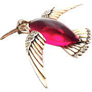 REDUCED TRIFARI 1943 Jelly Belly °*°ultra rare°*° RED Hummingbird  Sterling Pin Brooch