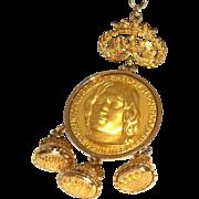 SALE Nettie Rosenstein commemorative medallion Necklace