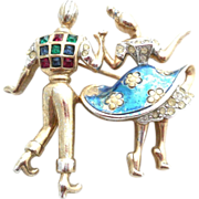 REDUCED Boucher numbered Dancing couple 1950's Enamel Pin Brooch