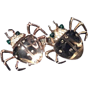 REDUCED Coro Sterling 'Twinkling Twins' Jelly Belly Beetle Duette  Pin Clip