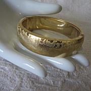 Vintage Gold Tone Embossed Bangle Bracelet