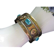 Egyptian Revival Brass Cuff Bracelet with Faience Scarabs & Pharaohs