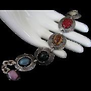 SALE Corocraft Art Glass Cabochon Bracelet