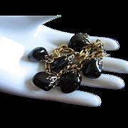 SALE Obsidian Teardrop Charm Bracelet