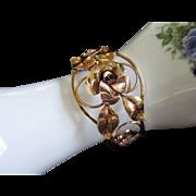 SALE Krementz Rose and Yellow Gold Cuff Bracelet