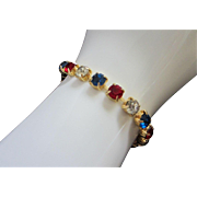 SALE Patriotic Red, Clear and Blue Rhinestone Bracelet