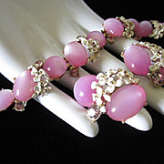 Lovely Lilac Moonglow Lucite with Enamel Flowers and Rhinestones Demi Parure (Bracelet and Earrings)