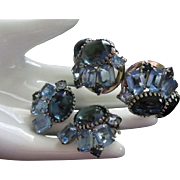 SALE Juliana Hues of Blue Rhinestone Clamper Bracelet and Earrings Demi Parure