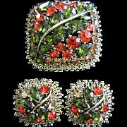 SALE Brilliant Fall Inspired Rhinestone Brooch & Earrings Set