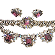 SALE Exceptional Amethyst and AB Rhinestone, Faux Pearl Parure (Necklace, Bracelet, Earrings)