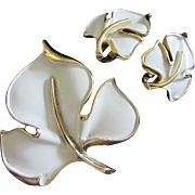 SALE Trifari White Enamel and Gold Tone Leaf Set, Brooch & Earrings