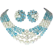 Western Germany Ice Blue and Iridescent White Glass Beaded 4 Strand Necklace and Earring Set