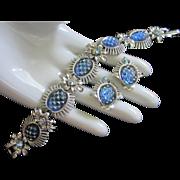 SALE Coro Iridescent Blue Cut Glass Cabochons & AB Rhinestone Flowers Set, Bracelet and Earrin