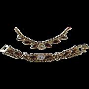 SALE Topaz, Light Topaz and AB Rhinestone Necklace and Bracelet Parure, Set
