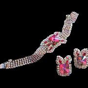 SALE Divine Heliotrope Rivoli and AB Rhinestone Bracelet, Earrings Set