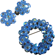 SALE Blue Marguerite and AB Crystals Pin and Earrings Set