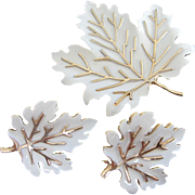 SALE Trifari White Enamel Leaves Pin and Earrings Set