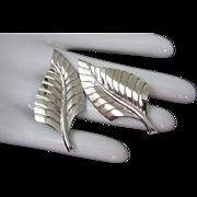 SALE Elegant Silver tone Leaves Earrings