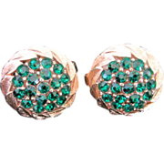SALE Trifari Emerald Green Rhinestone Earrings