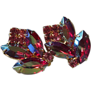 Glowing Raspberry AB and Pink Rhinestone Flower Earrings
