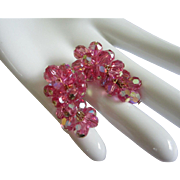 SALE Dazzling Pink AB Crystals Drop Earrings