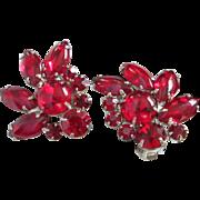 SALE Dazzling Ruby Red Rhinestone Fan Shaped Earrings
