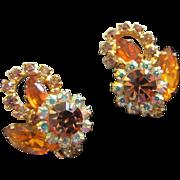 SALE Brilliant Juliana Topaz and AB Rhinestone Earrings