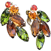 SALE Olivine, Smokey Topaz and Hyacinth Rhinestone Earrings