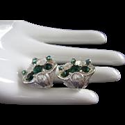 SALE Emerald Green and AB Rhinestone Dimensional Flower Earrings