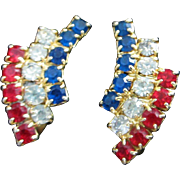 SALE Petite and Patriotic Red, Clear and Blue Rhinestone Earrings
