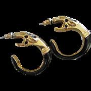 SALE Donald Stannard Black Enamel & Gold Tone Snake Earrings, Pierced