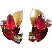 SALE Weiss Ruby Red, Garnet and AB Rhinestone Earrings