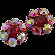 SALE Warner Ruby Red, Raspberry and Watermelon AB Rhinestone Earrings