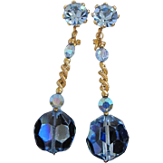 SALE Gorgeous Light Blue AB Crystals, Rhinestones Dangling Earrings