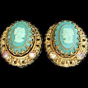 Vintage West Germany Teal Glass Cameo Earrings
