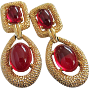 SALE Dangling JOMAZ Red Glass Cabochon and Gold Tone Earrings