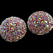 SALE Dazzling Domes of Raspberry Aurora Borealis Rhinestone Earrings