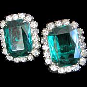 SALE Open Back Emerald Green and Clear Rhinestone Earrings