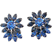 SALE Layered Montana and Capri Blue Rhinestone Earrings, Designer