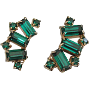 SALE Perfect Emerald Green Weiss Rhinestone Earrings